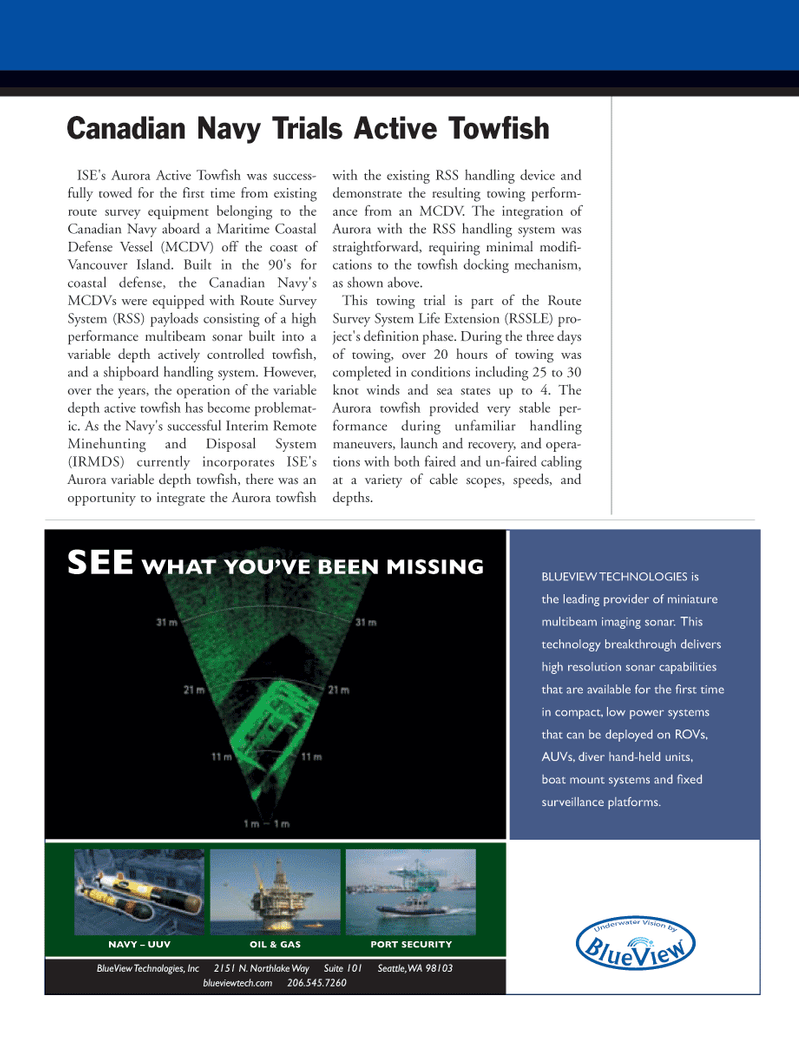Marine Technology Magazine, page 17,  May 2008 route survey equipment