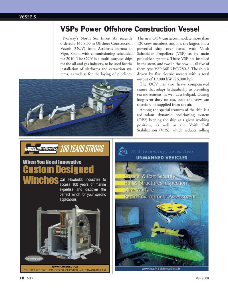 Marine Technology Magazine, page 18,  May 2008 main propulsion systems