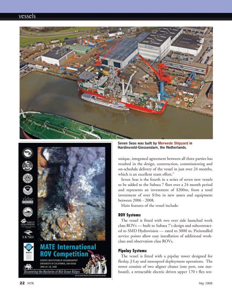 Marine Technology Magazine, page 22,  May 2008 ROV Systems