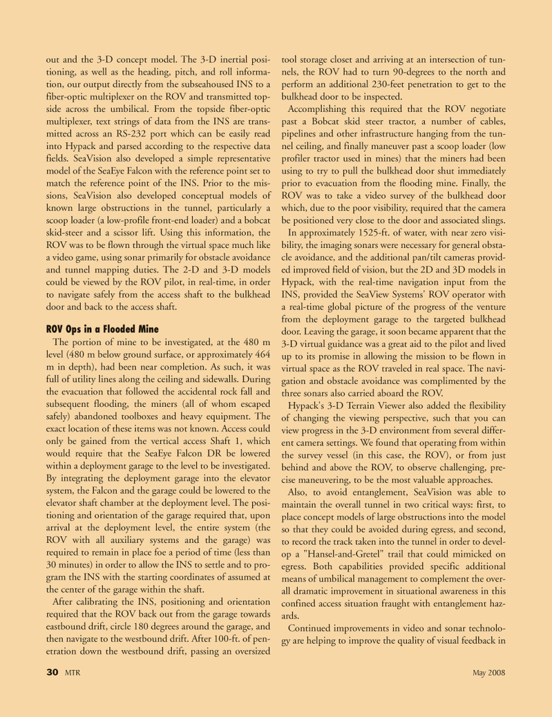 Marine Technology Magazine, page 30,  May 2008 heavy equipment