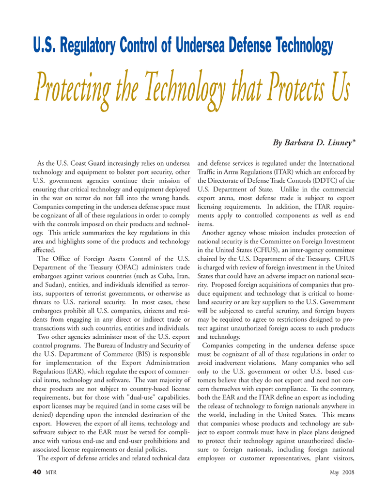 Marine Technology Magazine, page 40,  May 2008 Bureau of Industry and Security