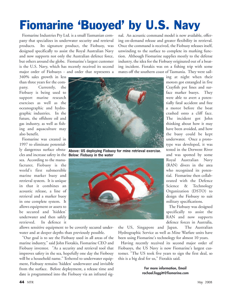 Marine Technology Magazine, page 44,  May 2008 Australian Hydrographic Service