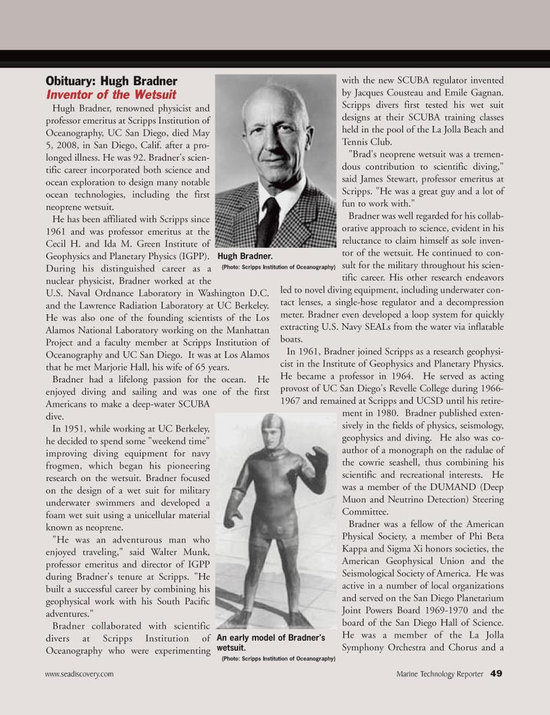 Marine Technology Magazine, page 49,  May 2008 California