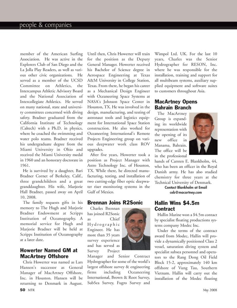 Marine Technology Magazine, page 50,  May 2008 Gulf of Mexico