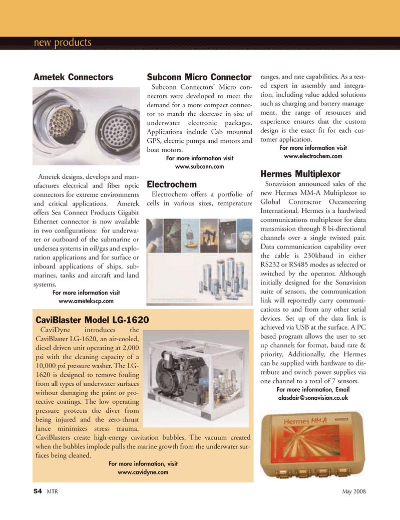 Marine Technology Magazine, page 54,  May 2008 fiber optic