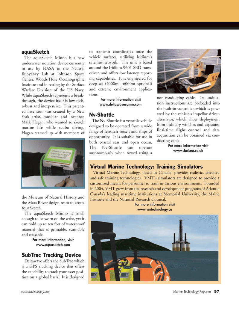 Marine Technology Magazine, page 57,  May 2008 Maine