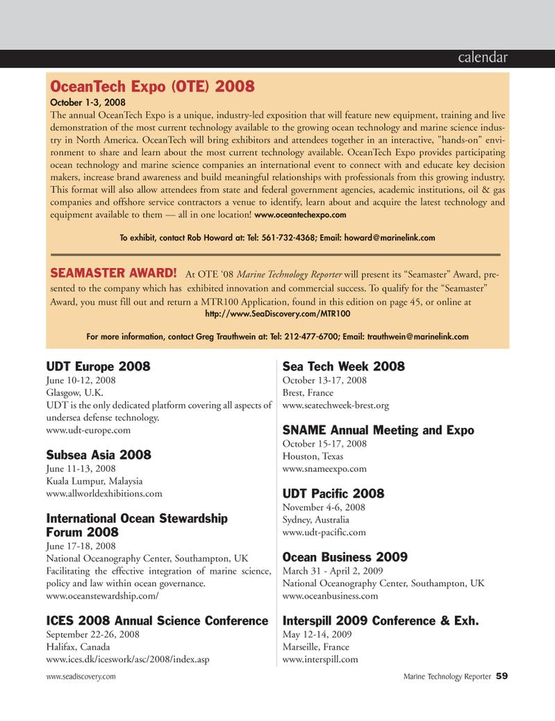 Marine Technology Magazine, page 59,  May 2008 undersea defense technology