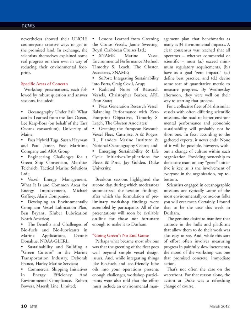 Marine Technology Magazine, page 10,  Mar 2012