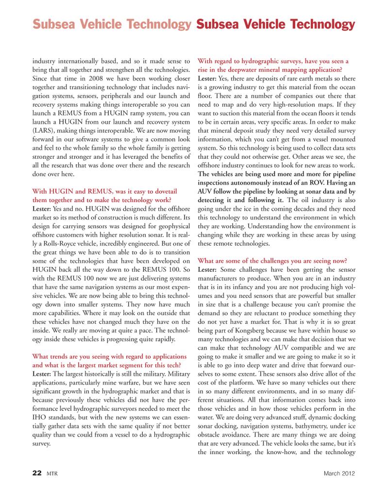 Marine Technology Magazine, page 22,  Mar 2012