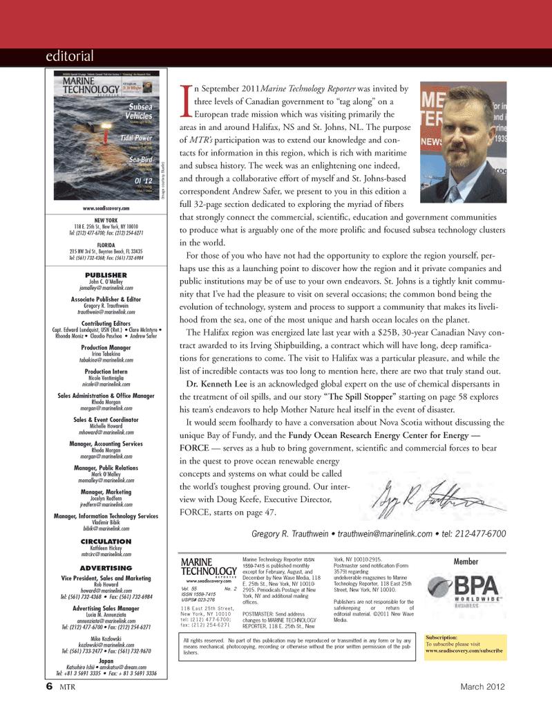 Marine Technology Magazine, page 6,  Mar 2012