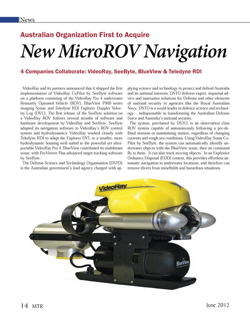 Marine Technology Magazine, page 14,  Jun 2012 Royal Australian Navy