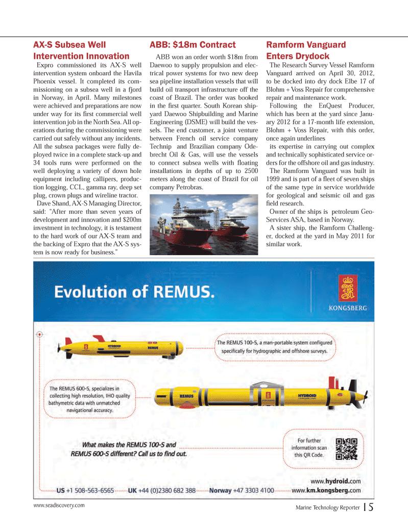 Marine Technology Magazine, page 15,  Jun 2012 oil service