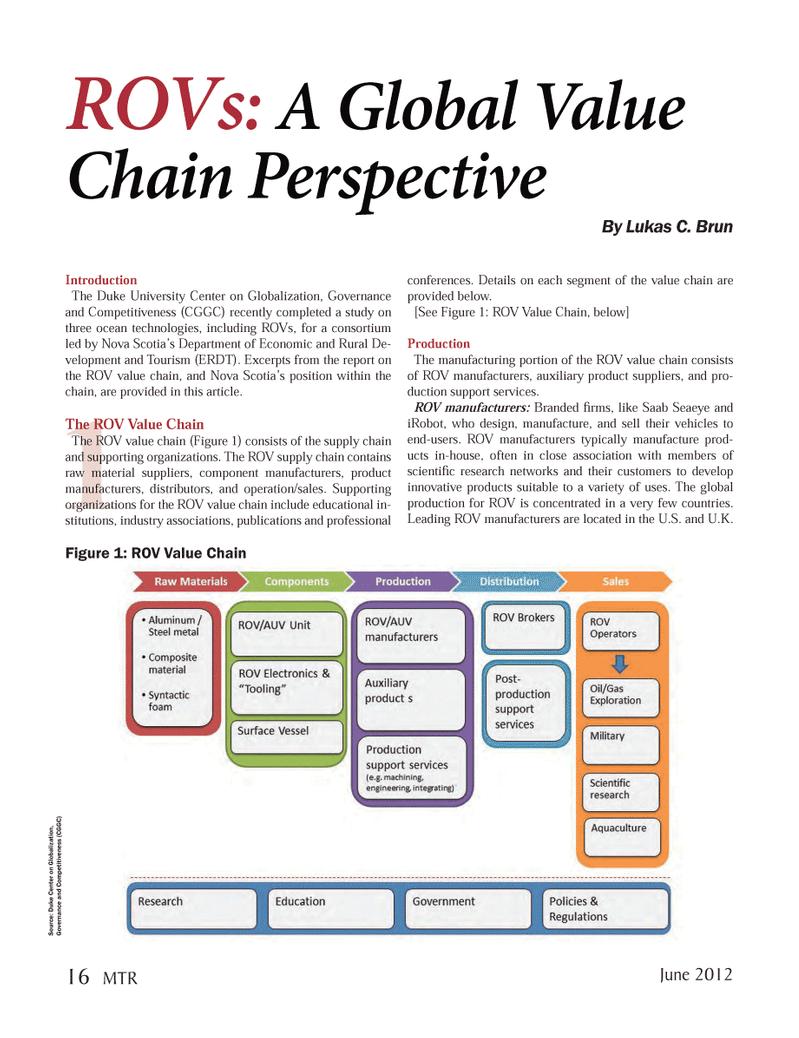 Marine Technology Magazine, page 16,  Jun 2012 Duke Center on Globalization
