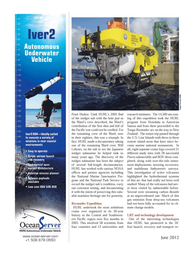 Marine Technology Magazine, page 24,  Jun 2012 National Park Service