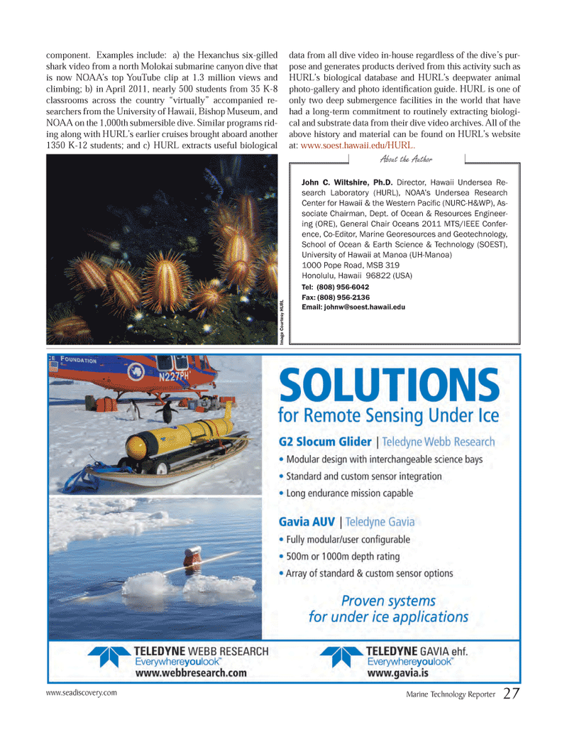 Marine Technology Magazine, page 27,  Jun 2012 General Chair Oceans