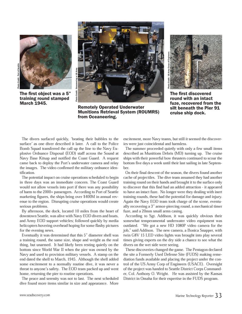 Marine Technology Magazine, page 33,  Jun 2012 Seattle District Corps Command