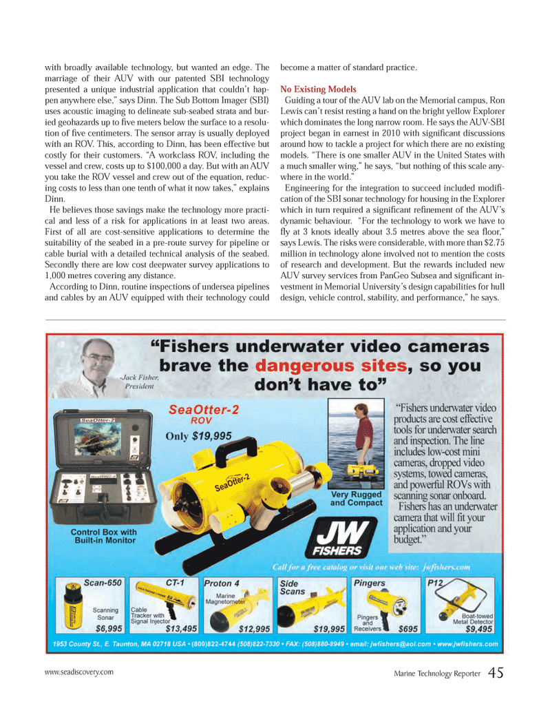 Marine Technology Magazine, page 45,  Jun 2012 Memorial University