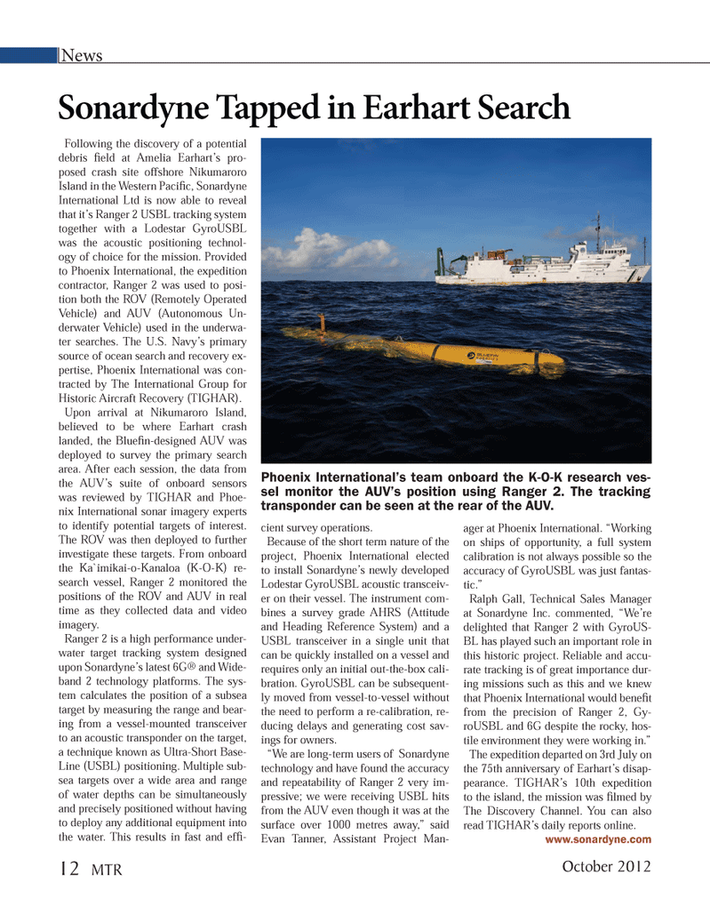 Marine Technology Magazine, page 12,  Oct 2012 Ralph Gall