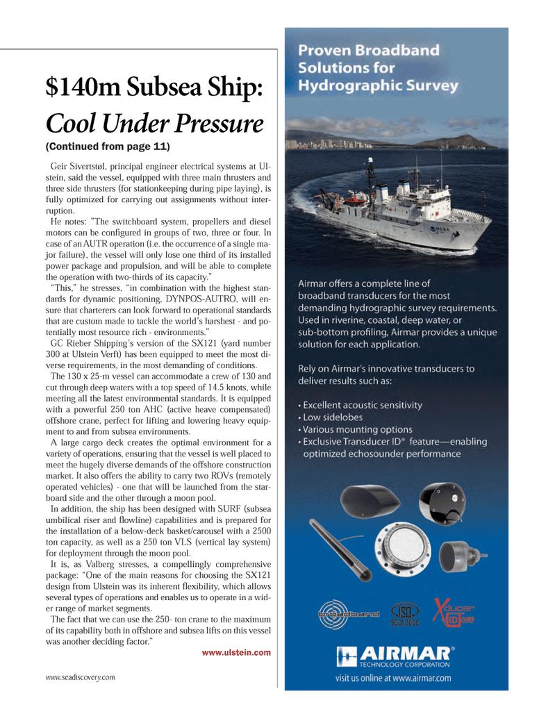 Marine Technology Magazine, page 13,  Oct 2012 GC Rieber Shipping