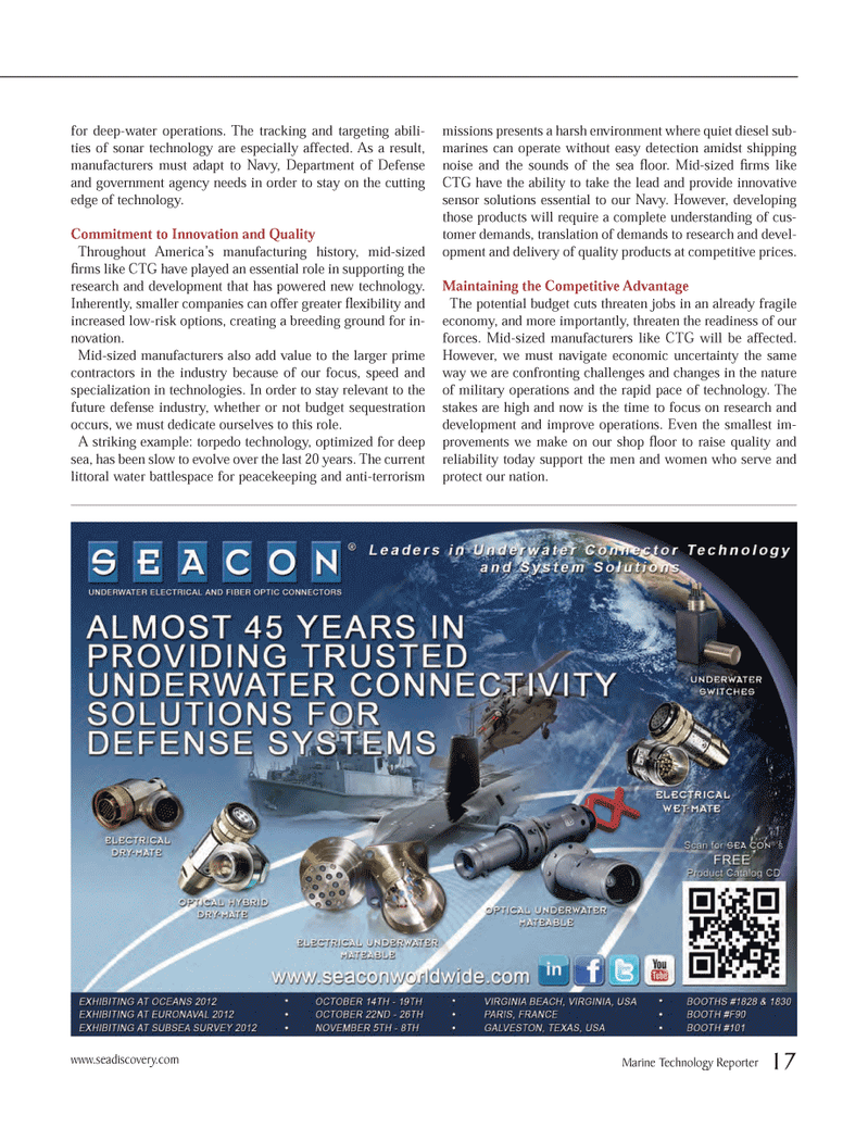 Marine Technology Magazine, page 17,  Oct 2012 Department of Defense