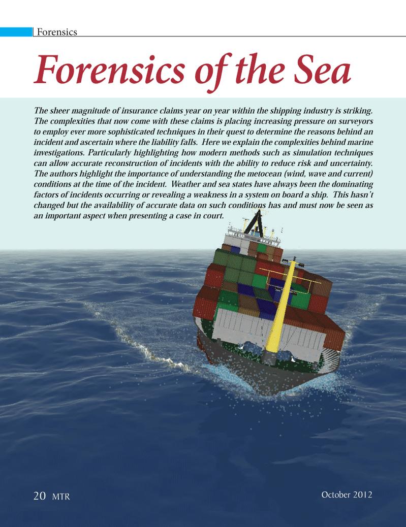 Marine Technology Magazine, page 20,  Oct 2012 insurance claims year