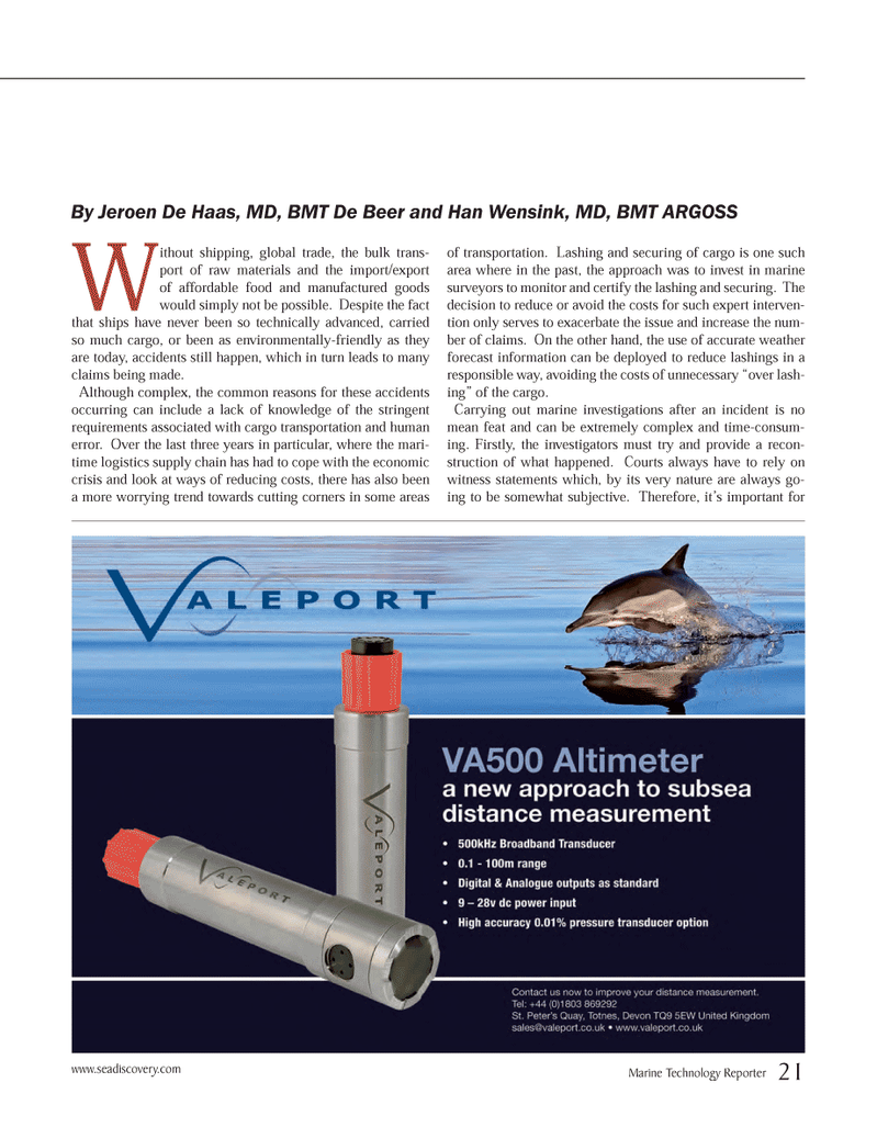 Marine Technology Magazine, page 21,  Oct 2012 cargo transportation
