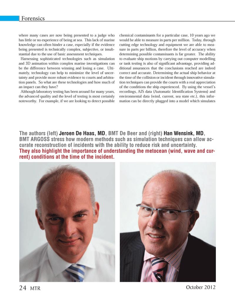 Marine Technology Magazine, page 24,  Oct 2012 Jeroen De Haas