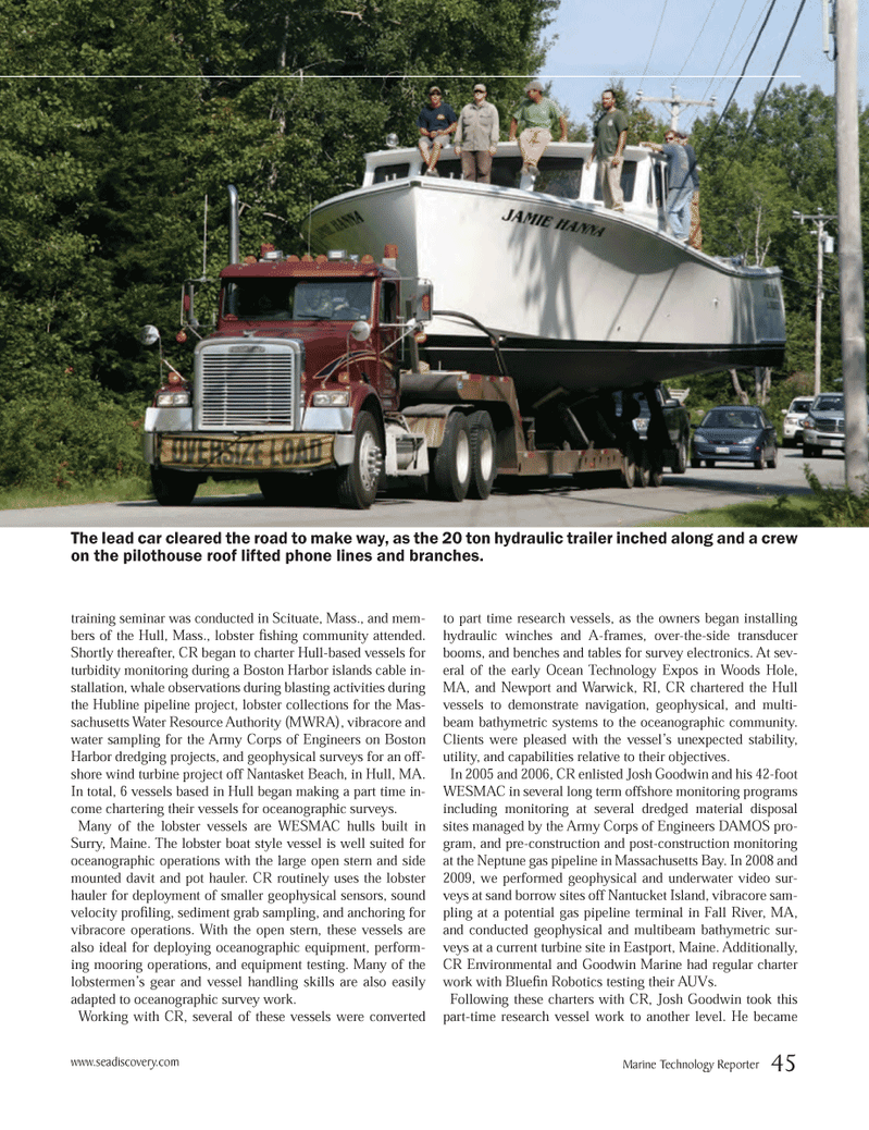 Marine Technology Magazine, page 45,  Oct 2012 Massachusetts Bay