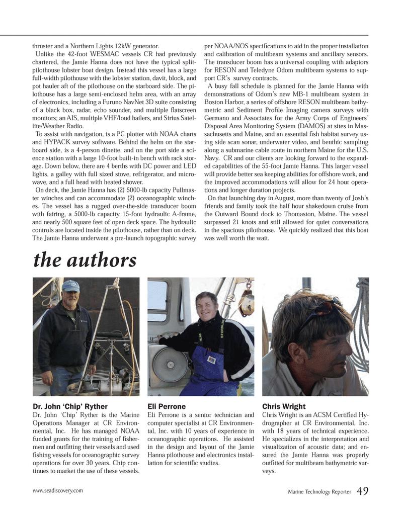 Marine Technology Magazine, page 49,  Oct 2012 Jamie Hanna