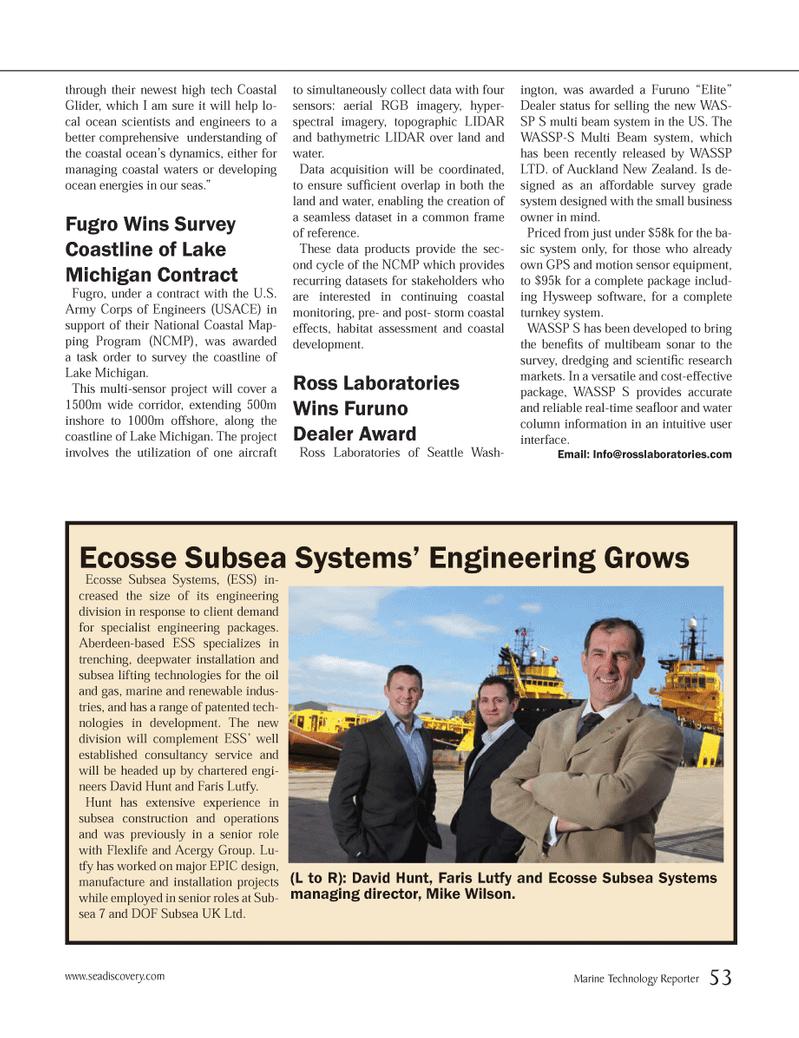 Marine Technology Magazine, page 53,  Oct 2012 Mike Wilson