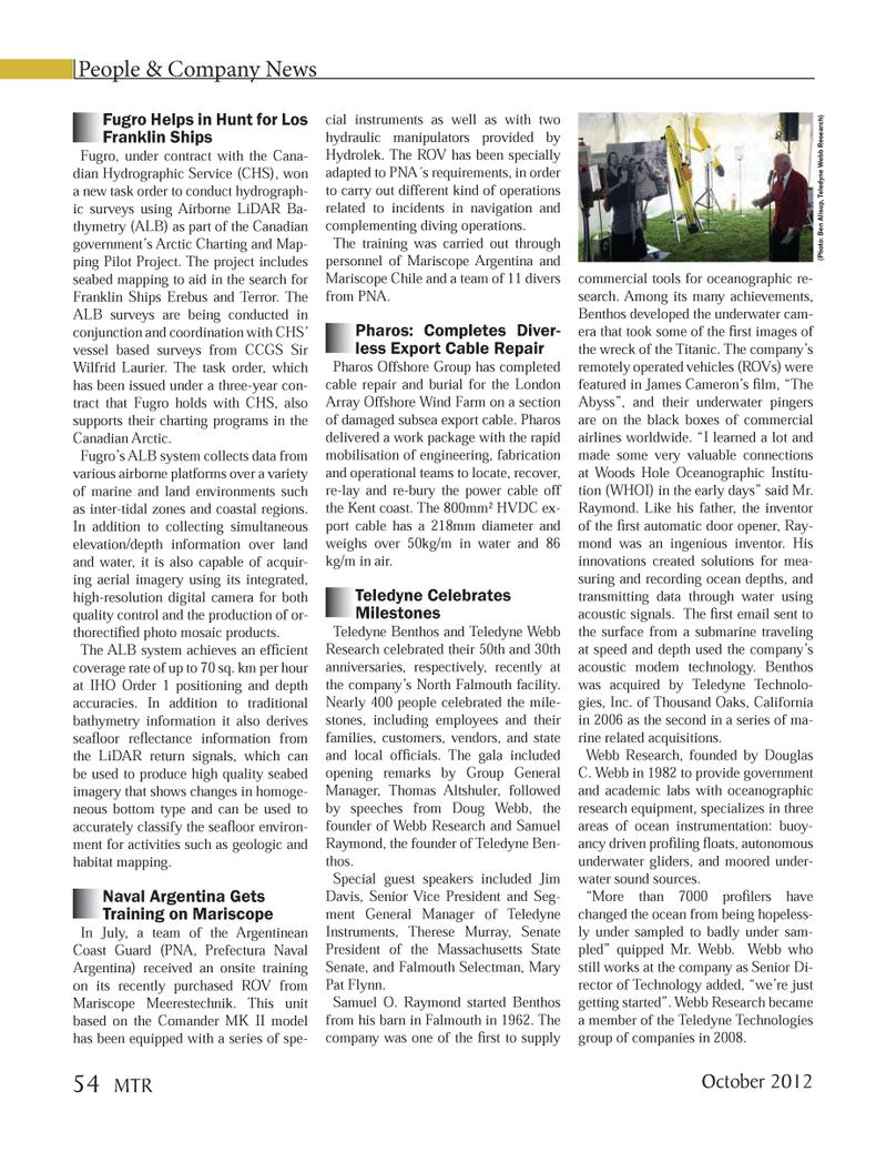 Marine Technology Magazine, page 54,  Oct 2012 California