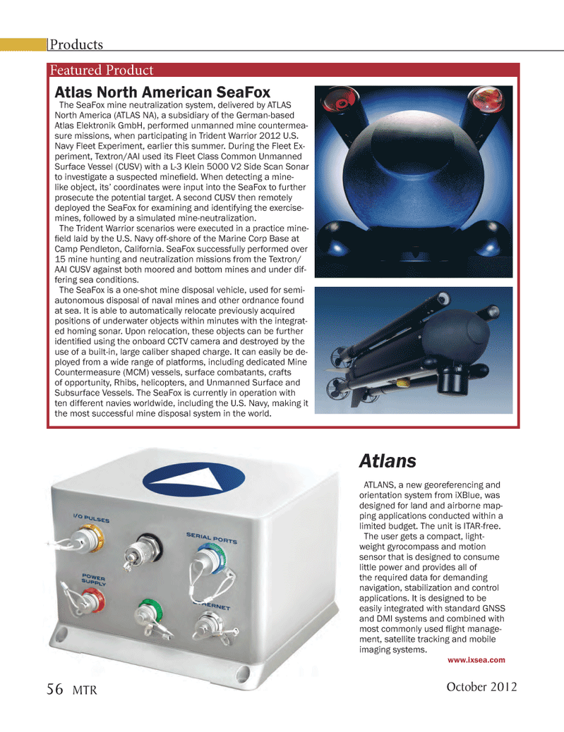 Marine Technology Magazine, page 56,  Oct 2012 control applications