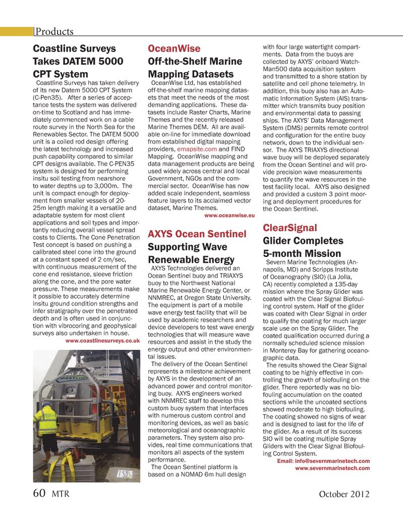 Marine Technology Magazine, page 60,  Oct 2012 Harman On Time Radio