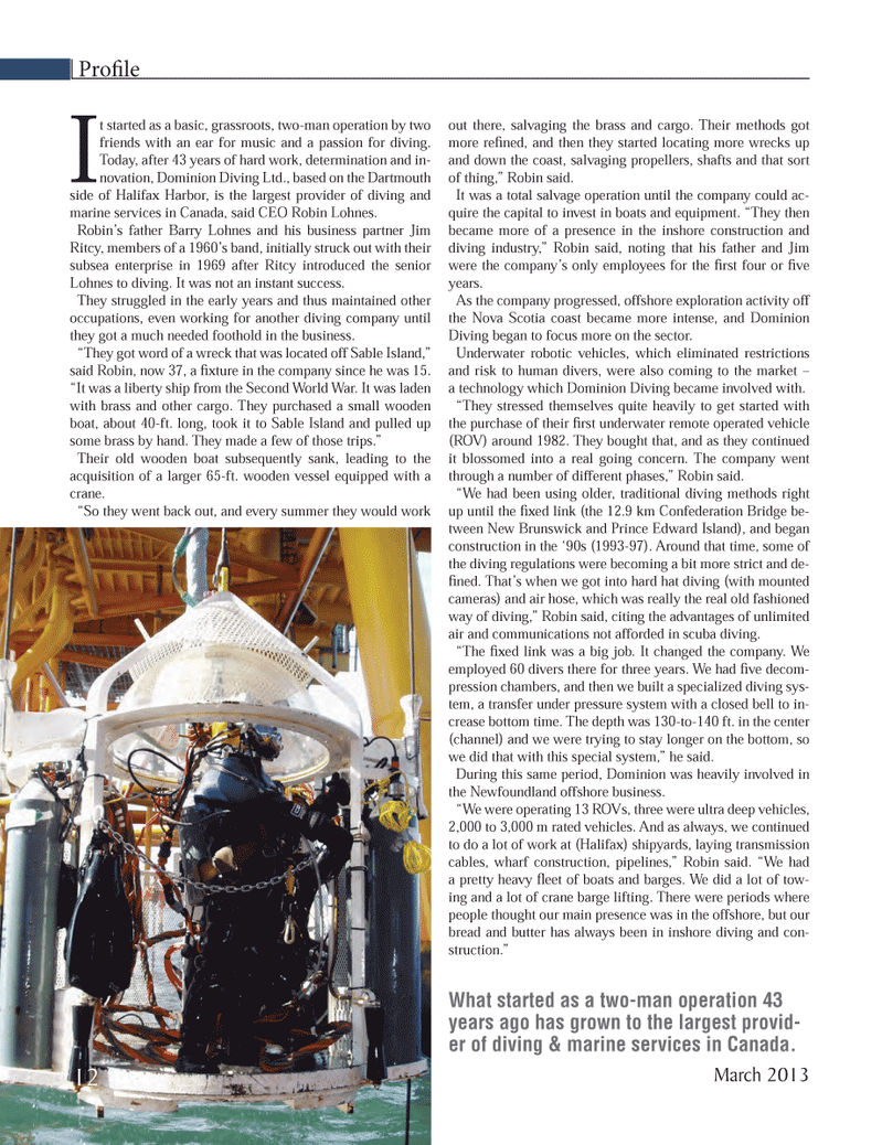 Marine Technology Magazine, page 12,  Mar 2013 Nova Scotia