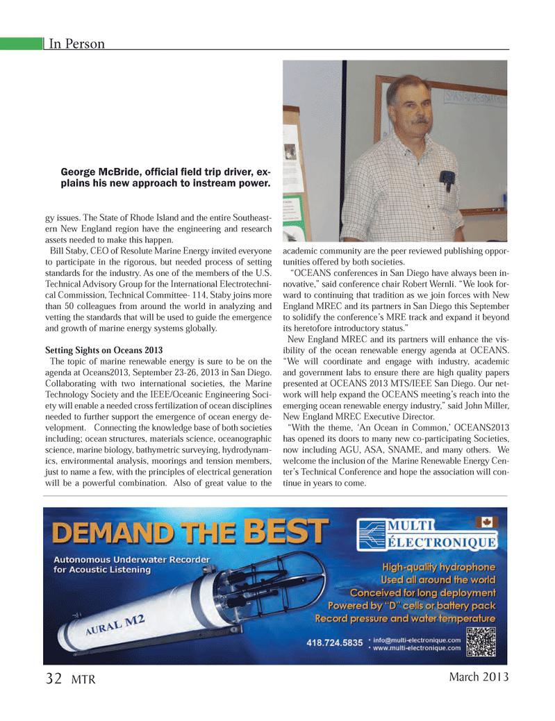 Marine Technology Magazine, page 32,  Mar 2013 Rhode Island