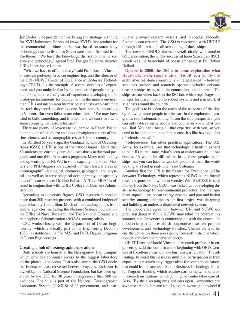 Marine Technology Magazine, page 41,  Mar 2013 derwater Technology