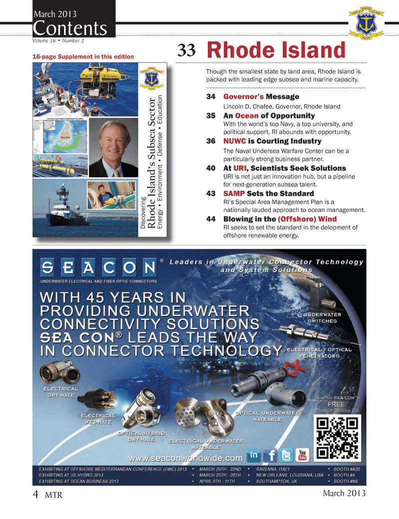 Marine Technology Magazine, page 4,  Mar 2013 offshore renewable energy