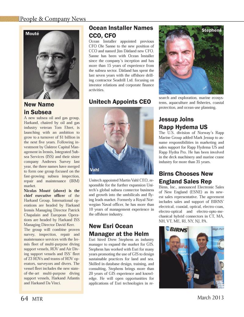 Marine Technology Magazine, page 64,  Mar 2013 Nicolas Mout??