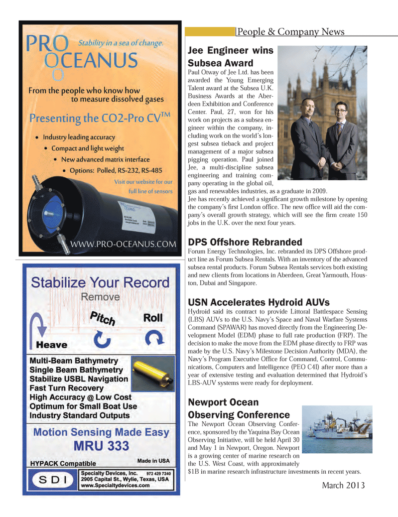 Marine Technology Magazine, page 66,  Mar 2013 Oregon