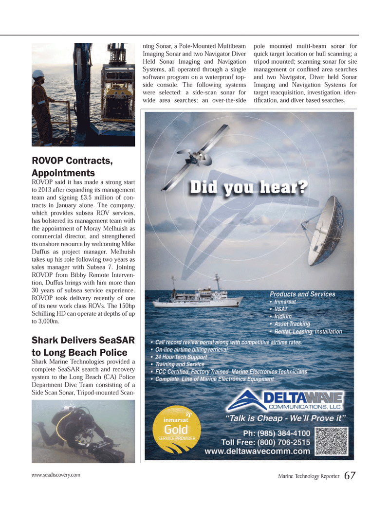 Marine Technology Magazine, page 67,  Mar 2013 Long Beach Police Shark Marine Technologies