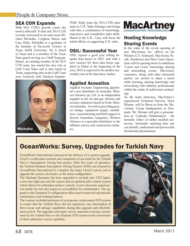 Marine Technology Magazine, page 68,  Mar 2013 Northwest