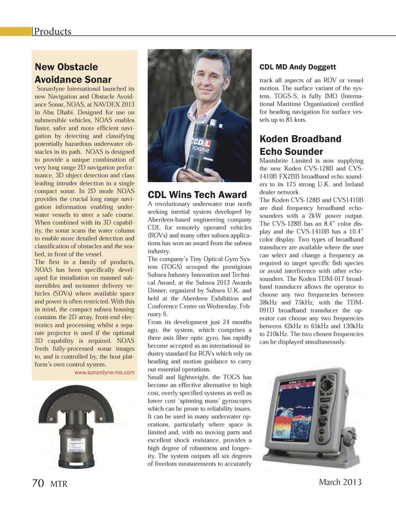 Marine Technology Magazine, page 70,  Mar 2013 CDL Wins Tech Award A revolutionary underwater true north seeking inertial system