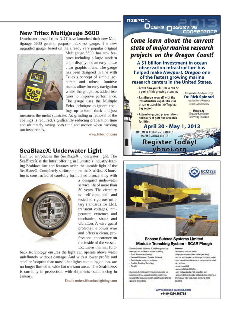 Marine Technology Magazine, page 71,  Mar 2013 Yaquina Bay