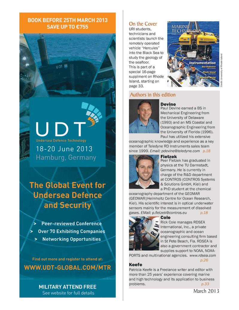 Marine Technology Magazine, page 6,  Mar 2013 Delaware