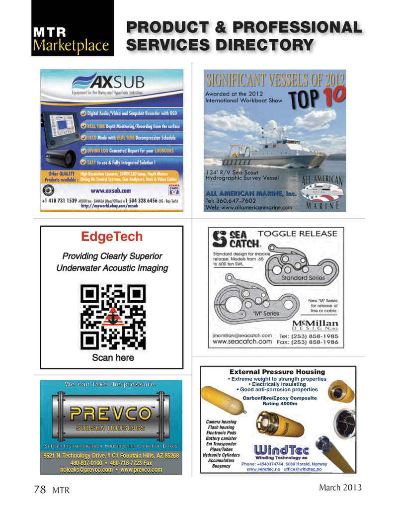 Marine Technology Magazine, page 78,  Mar 2013 9521 N. Technology