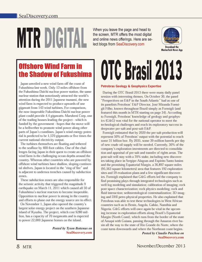 Marine Technology Magazine, page 8,  Nov 2013 Claudio Paschoa