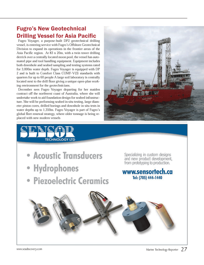 Marine Technology Magazine, page 27,  Nov 2013 Fugro?s Offshore Geotechnical Division