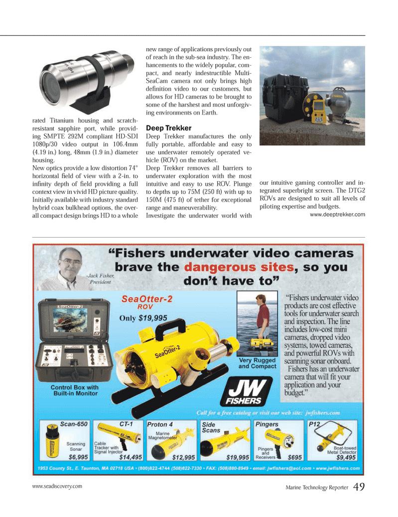 Marine Technology Magazine, page 49,  Nov 2013 Deep Trekker Deep Trekker