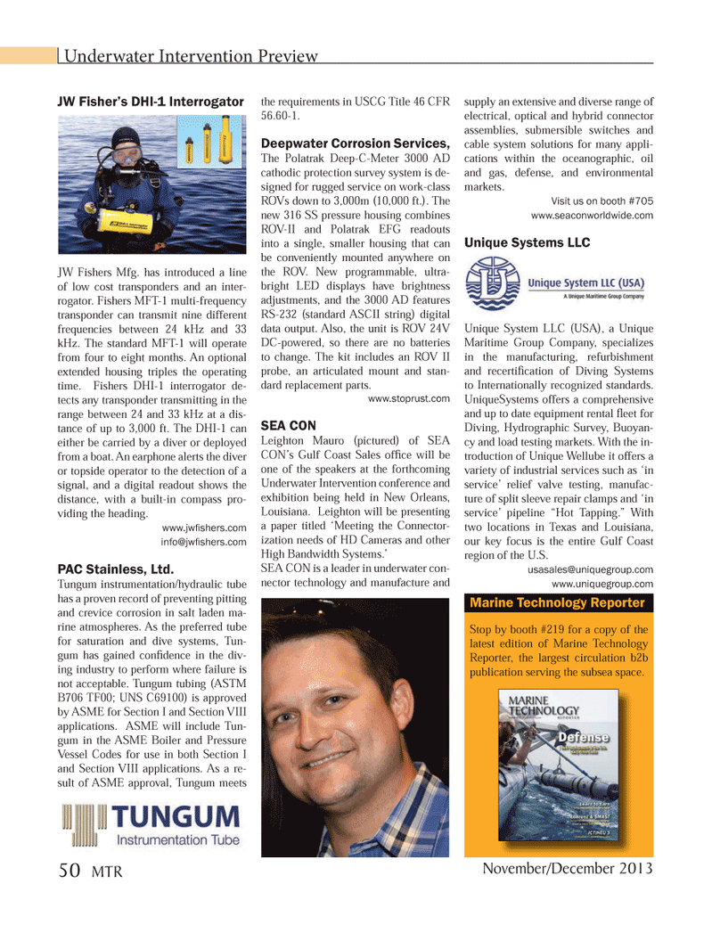 Marine Technology Magazine, page 50,  Nov 2013 Gulf coast