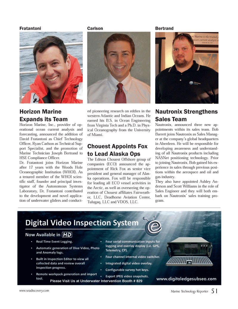 Marine Technology Magazine, page 51,  Nov 2013 Ryan Carlson